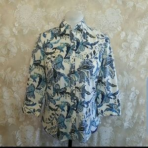 Talbots Button-down Blue Floral Top Size S